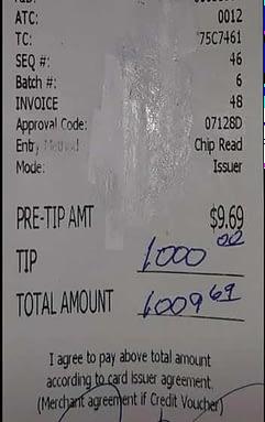 1000 Dollar Trinkgeld