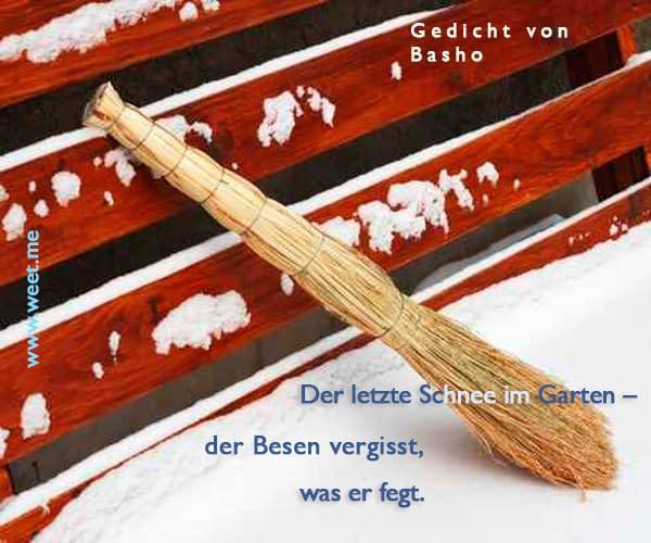 Haiku Gedicht von Basho – Der letzte Schnee im Garten