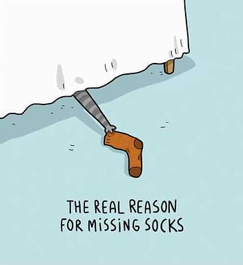 Der Grund für verschwunden Socken